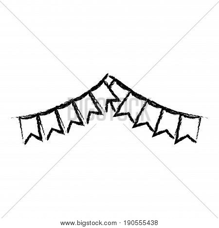 monochrome blurred silhouette of festoons in shape of square with peaks and thick contour vector illustration