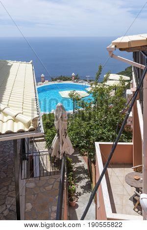 View of turquoise sea Paleokastritsa coast from Bella Vista. Corfu island, Greece.