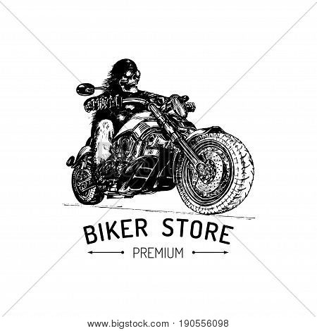 Biker Store advertising poster. Vector hand drawn skeleton rider on motorcycle. Vintage detailed illustration for custom company logotype, chopper garage label, MC sign, t-shirt print etc.