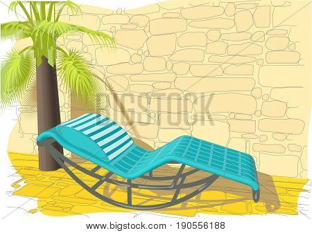 rocking bed wall and palm. summer background