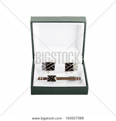 Cuff Links In A Box On White Background