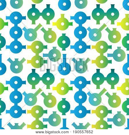 Flat retorts vector seamless pattern of trendy design, blue and green