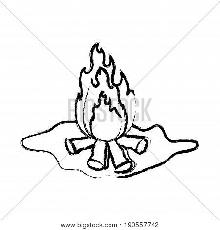 monochrome blurred silhouette of wood fire in floor vector illustration