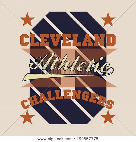 T-shirt cleveland atletics Typography Fashion challengers sport design the logo the number of floral patterns graphic print image design fashion Typography original design clothing