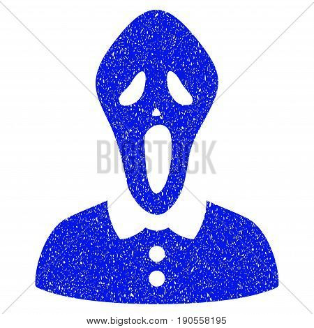 Grunge Horror icon with grunge design and dust texture. Unclean vector blue pictogram for rubber seal stamp imitations and watermarks. Draft sign symbol.