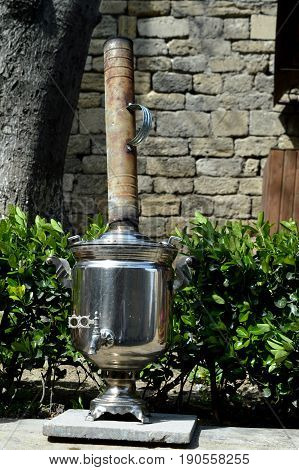 Samovar. The picture shows a samovar, ecological clean dishes.