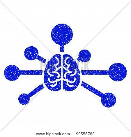Grunge Mind Control Links icon with grunge design and unclean texture. Unclean vector blue pictogram for rubber seal stamp imitations and watermarks. Draft sticker symbol.