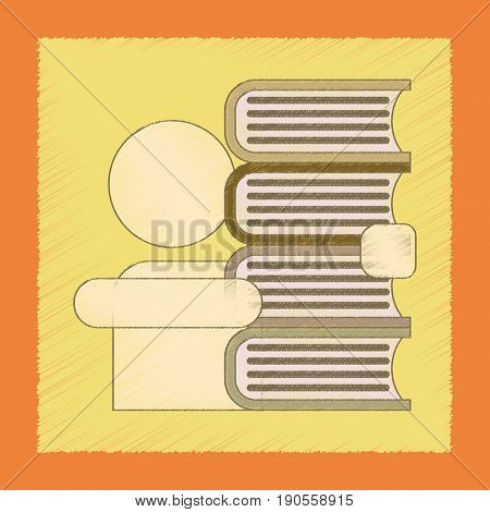 flat shading style icon of schoolboy books