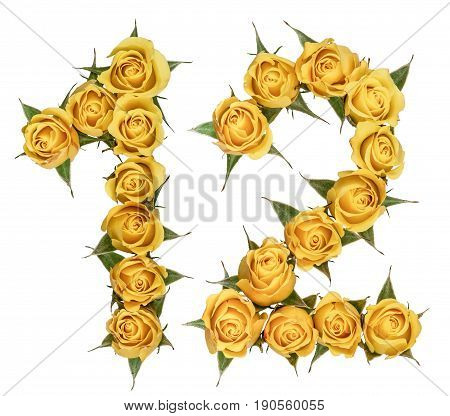 Arabic Numeral 12, Twelve, From Yellow Flowers Of Rose, Isolated On White Background