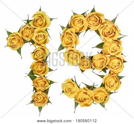 Arabic Numeral 19, Nineteen, From Yellow Flowers Of Rose, Isolated On White Background