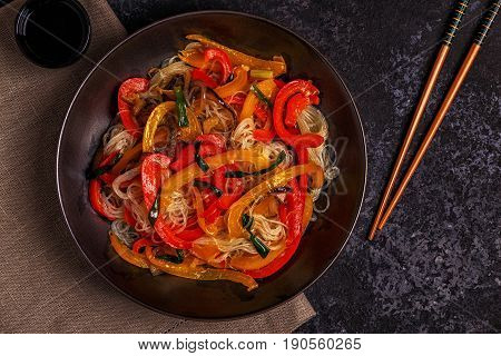 Cooking Asian Stir Fry Noodles With Vegetables