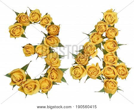 Arabic Numeral 34, Thirty Four, From Yellow Flowers Of Rose, Isolated On White Background