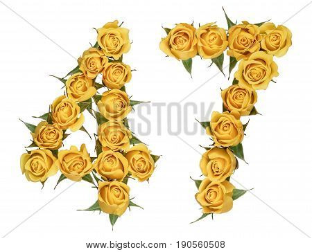 Arabic Numeral 47, Forty Seven, From Yellow Flowers Of Rose, Isolated On White Background