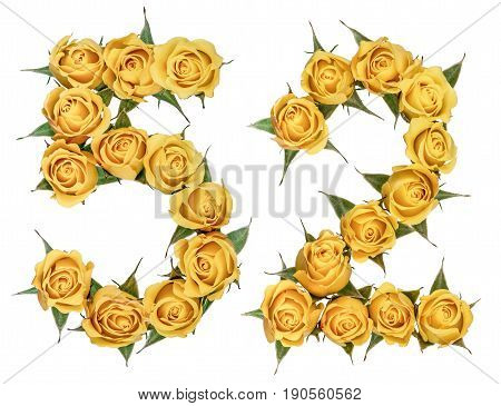 Arabic Numeral 52, Fifty Two, From Yellow Flowers Of Rose, Isolated On White Background