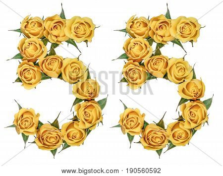 Arabic Numeral 55, Fifty Five, From Yellow Flowers Of Rose, Isolated On White Background