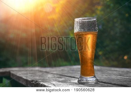 Glass of cold beer on the wooden table in sun rays at the nature background . Still life at sunset. Vacation and summer mood.