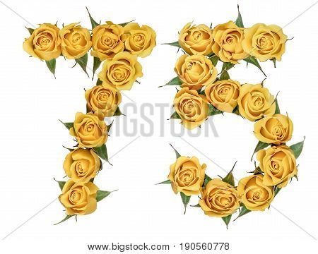 Arabic Numeral 75, Seventy Five, From Yellow Flowers Of Rose, Isolated On White Background