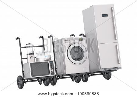 Delivery of household kitchen appliances. Hand trucks with fridge washing machine microwave oven blender and yogurt maker 3D rendering