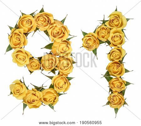 Arabic Numeral 91, Ninety One, From Yellow Flowers Of Rose, Isolated On White Background