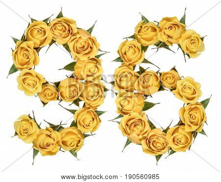 Arabic Numeral 96, Ninety Six, From Yellow Flowers Of Rose, Isolated On White Background