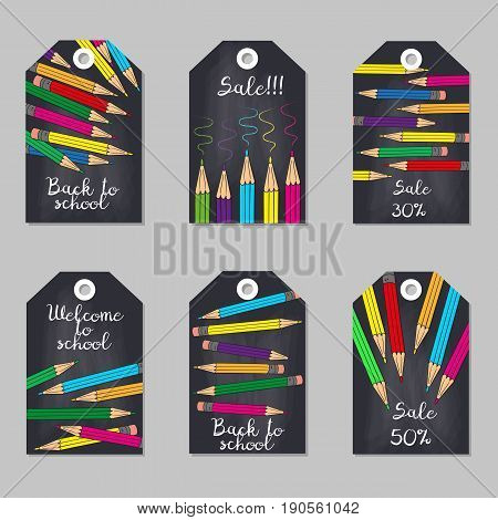 Set of tags with multicolored pencils. Vector illustration.