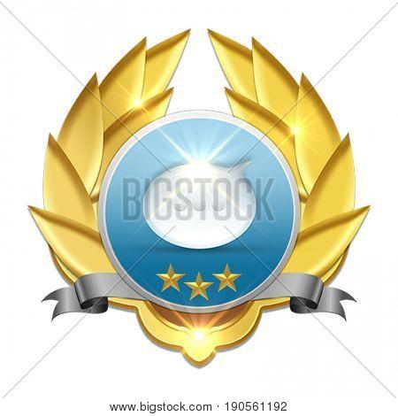 golden badge with text balloon symbolizing communication