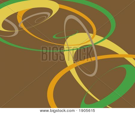 Brown Green Yellow & Orange Swoopy Circles Background