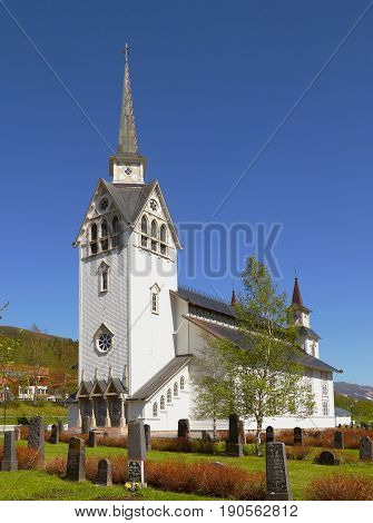 Duved, Sweden - May 27 2014: Duved's church in neo-Gothic style belongs to the religious community of the Swedish Church.