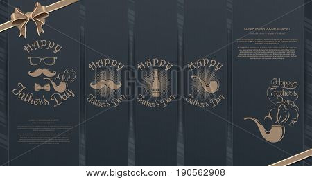 Big collection of elegant banners for Fathers Day. Pipe, mustache, glasses, beer bottle and graceful lettering - Happy Fathers Day. Vector illustration