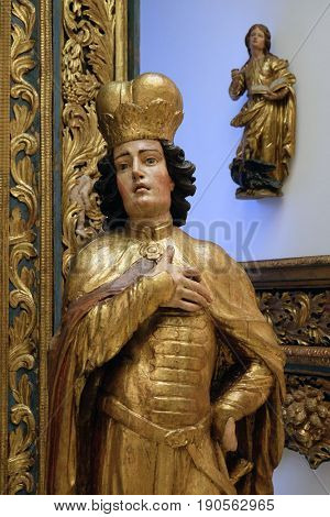 ZAGREB, CROATIA - FEBRUARY 17: St. Emeric, part of the old altar of St. Mary in the Cathedral of Zagreb in Zagreb, Croatia on February 17, 2015.