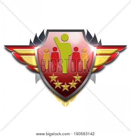 red and yellow badge with wings symbolizing management or leader skills