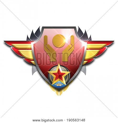 red and yellow badge with wing symbolizing management skills having the world in your hands
