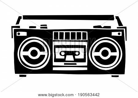 Old school black cassette player cartoon hand drawn style isolated vector illustration