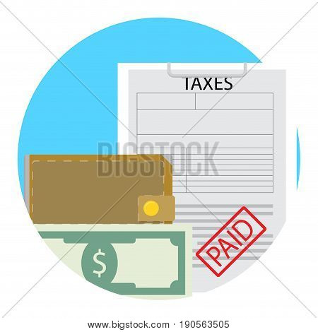 Taxes paid money saved icon flat. Savings and save money concept vector illustration