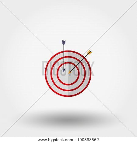 Target with an arrow. Icon for web and mobile application. Vector illustration isolated on a white background. Flat design style.