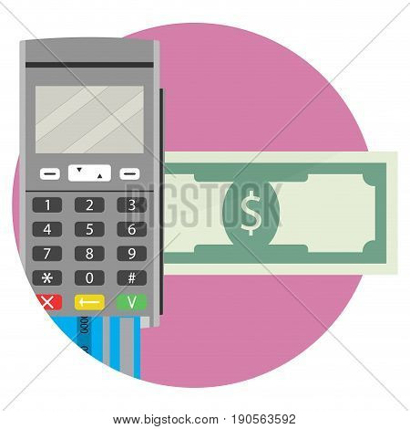 Icon of electronic money transfer application. Vector transfer and send money bank transfer money transaction illustration