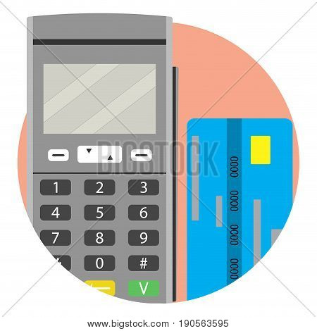 Modern payment method credit card icon app. Vector financial pay illustration of transaction credit card and terminal