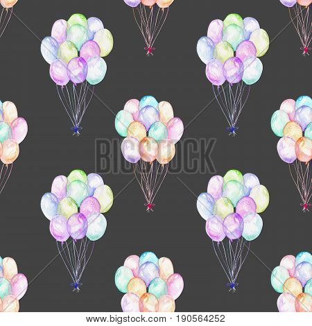 Seamless pattern with watercolor bundle of balloons, hand drawn isolated on a dark background