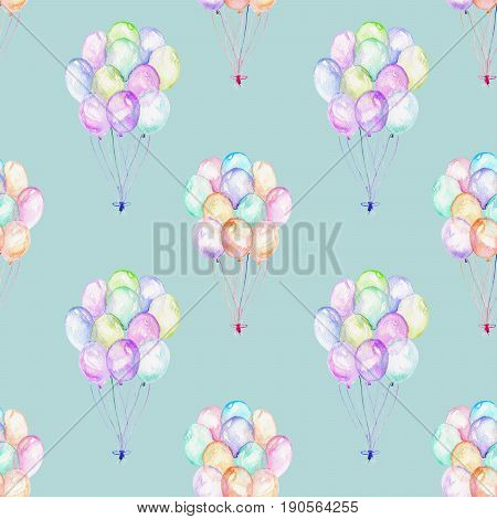 Seamless pattern with watercolor bundle of balloons, hand drawn isolated on a blue background
