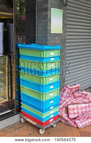 Plastic Crates Shipping Delivery at Dolly Cart
