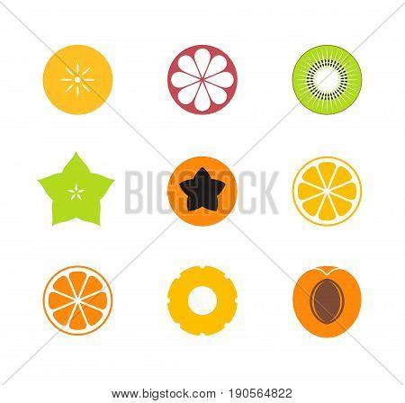 Cut fruit. Icon set. Exotic fruit on white background
