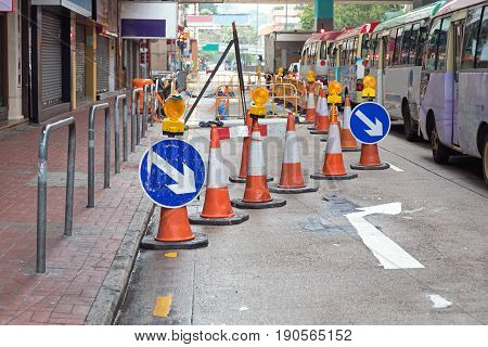 One Lane Closed for Road Works Disruption