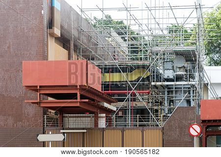 Scaffoldings and Construction Platform at Utility Building