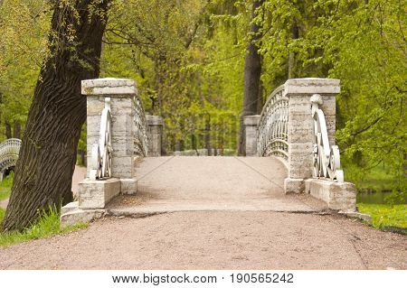 The bridge in the Palace Park in Gatchina a suburb of St. Petersburg.