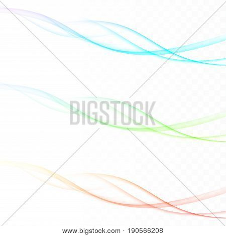 Fresh spring background waves colorful feather swooshes. Bright vivid colorful futuristic modern graphic divider lines. Dynamic fashion header or footer templates. Vector illustration