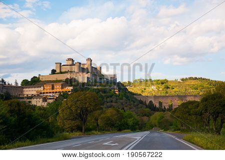 View of the medieval castle Albornoz, and the town of Spoleto in Umbria, Italy