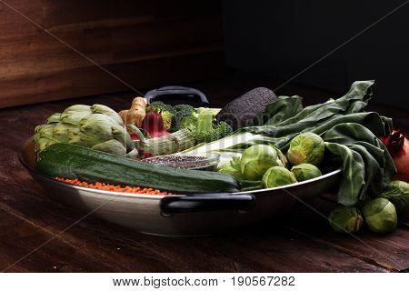 Vegetables, Fruit, Seeds, Cereals, Beans, Spices, Superfoods, Herbs, Condiment In Silver Pan For Veg