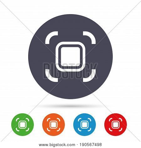 Autofocus zone sign icon. Photo camera settings. Round colourful buttons with flat icons. Vector