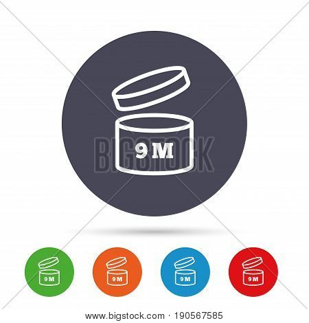After opening use 9 months sign icon. Expiration date. Round colourful buttons with flat icons. Vector