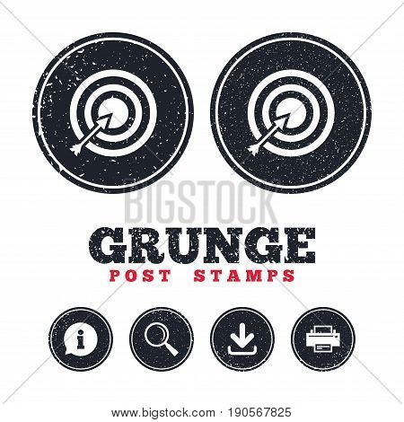 Grunge post stamps. Target aim sign icon. Darts board with arrow symbol. Information, download and printer signs. Aged texture web buttons. Vector